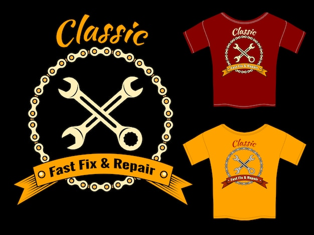 Vector mechanic fast fix and repair t-shirt template design isolé sur fond noir.