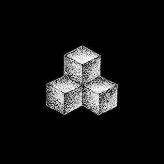 Vector monochrome blanc rétro dot art dessinés à la main cubique géométrique volumétrique blackwork élément de conception vintage tatouage style décoration isolé forme illustration fond noir