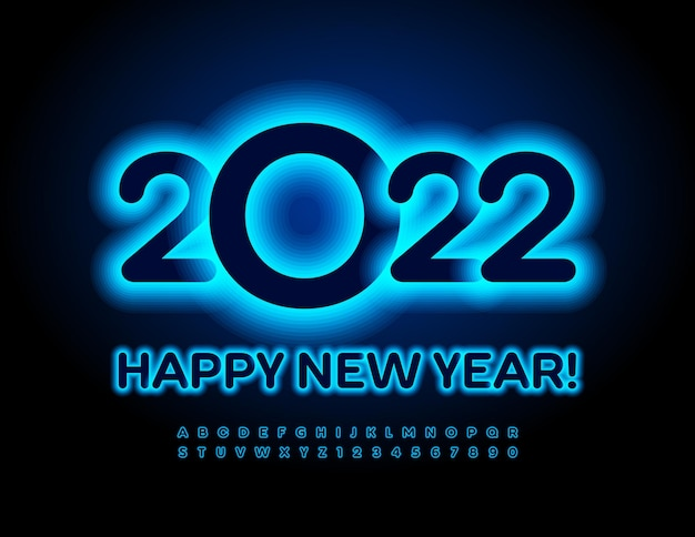 Vector néon carte de voeux happy new year 2022 glow blue font electric alphabet letters and numbers