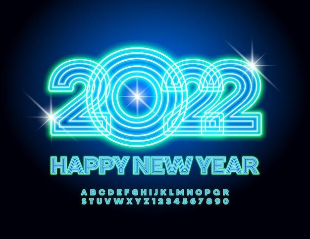 Vector néon carte de voeux joyeux noël 2022 lumière électrique police bleu brillant alphabet