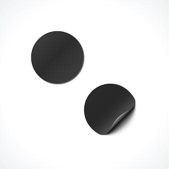 Vector noir mock up cercle de papier rond déformé peel off illustration autocollant coin réaliste avec la conception de modèle d'ombre isolé sur fond clair
