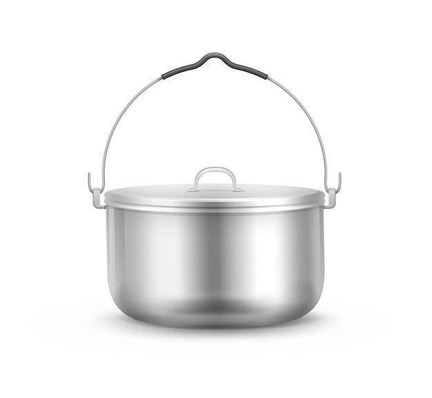 Vector nouveau pot de camping en acier brillant avec couvercle et vue latérale de la poignée isolé sur fond blanc