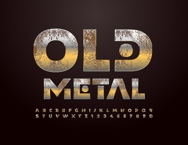 Vector old metal alphabet set creative grungy font abstract style lettres et chiffres