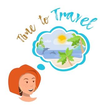 Vector plate jeune fille heureux rêves voyageant.