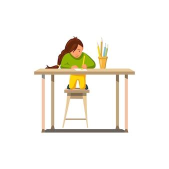 Vector plate petite fille faire ses devoirs dessiner leçon.