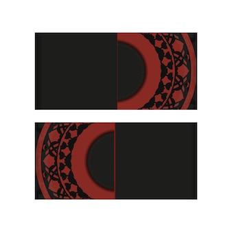 Vector prêt à imprimer un design de carte postale en couleur rouge noir avec des motifs luxueux.