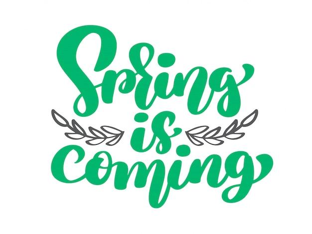 Vector le printemps arrive des branches et des feuilles. texte dessiné à la main