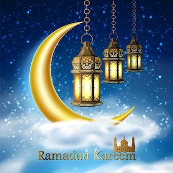 Vector ramadan kareem fanoos religieux arabes sur nuage avec étoile de ciel de lune