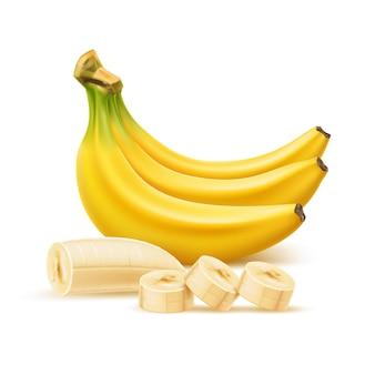 Vector réaliste banane mûre tas de banane tranchée sans pelure fruits jaunes frais pelés