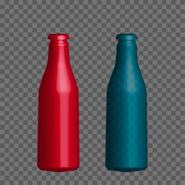 Vector réaliste maquette bouteille d'eau minérale, jus.