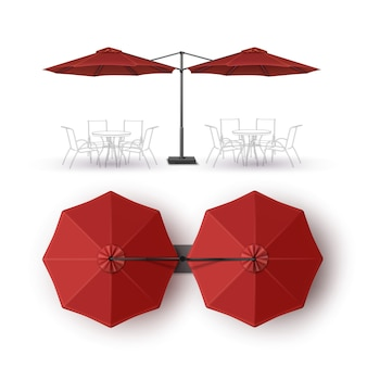 Vector red blank patio double outdoor beach cafe bar pub lounge restaurant