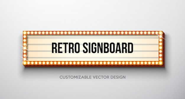 Vector rétro enseigne ou illustration de lightbox