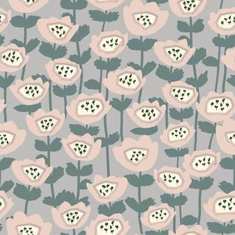Vector rétro scandinave abstrait fleur et feuille illustration motif motif de répétition sans couture