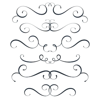 Vector s'épanouir ensemble collection de défilement curl éléments de décoration vintage haut et bas décor