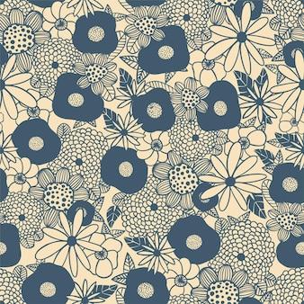 Vector scandinave fleur bouquet contour illustration noir et blanc motif de répétition sans couture