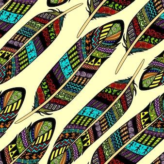 Vector seamless pattern avec etno plumes colorées ornées