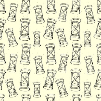 Vector seamless pattern avec sablier style handdrawn croquis
