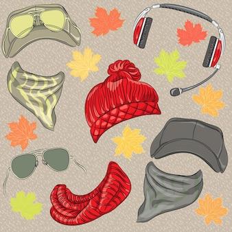 Vector set accessoires automne hipster