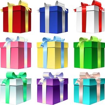 Vector set coffret cadeau coloré avec noeud de ruban brillant, isolé sur blanc