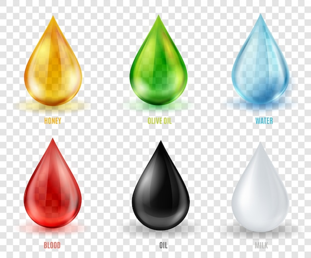 Vector set gouttes transparentes