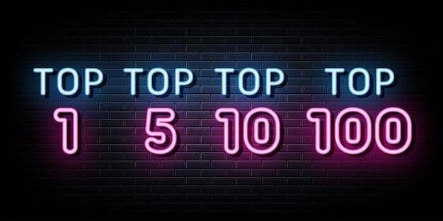 Vector set icon top rating enseignes au néon vecteur modèle de conception enseigne au néon