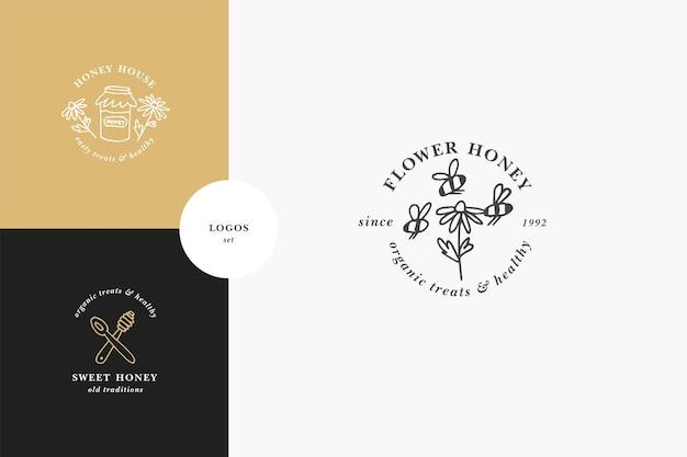 Vector set illustartion logos et modèles de conception ou badges. étiquettes et étiquettes de miel biologique et écologique avec des abeilles. style linéaire et couleur dorée.