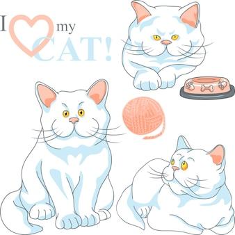 Vector set mignon chat blanc aux yeux jaunes