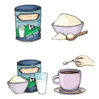Vector set of cartoon illustration de lait en poudre