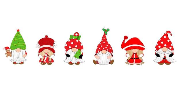 Vector set of cute santa claus gnome clip art
