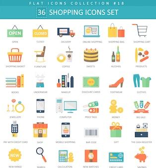 Vector shopping jeu d'icônes plat de couleur. design de style élégant.
