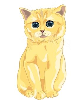Vector sketch mignon chaton britannique lilas assis