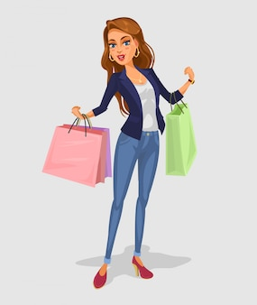 Vector smiling girl-shopper