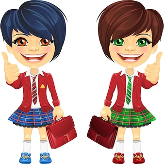 Vector souriant écolières mignonnes brune