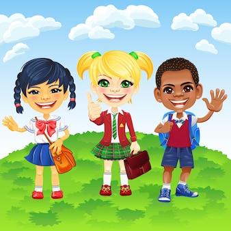 Vector souriant écoliers de différentes nationalités