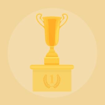 Vector trophée champion coupe plat icône.