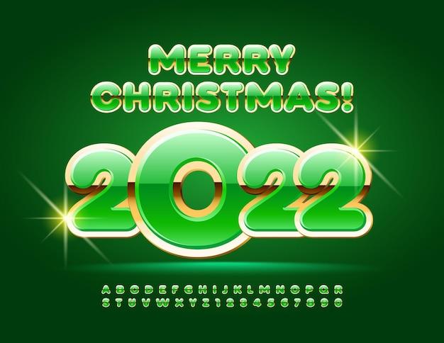 Vector vert carte de voeux joyeux noël 2022 alphabet festif lettres et chiffres ensemble