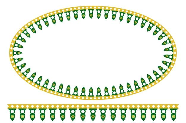 Vector vert jaune décoration ovale maison traditionnelle du vieux jakarta, indonésie