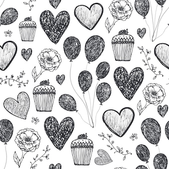 Vector vintage anniversaire sans couture, fond de fête, motif. ballons, gâteaux, coeurs. saint-valentin, amour, romantique style de griffonnage dessiné à la main noir et blanc