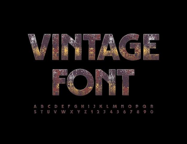 Vector vintage polices rouillés lettres et chiffres de l'alphabet métallique