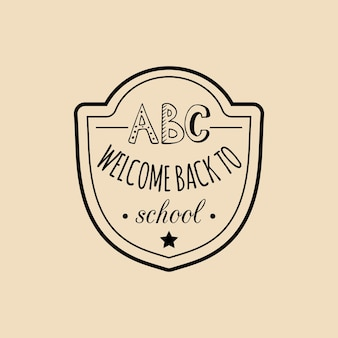 Vector vintage retour à l'insigne de l'école. signe rétro de l'éducation des enfants avec des caractères abc. concept de conception de jour de connaissance.