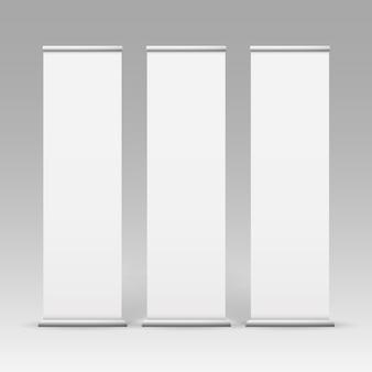 Vector white blank roll up business banner stands pour la publicité