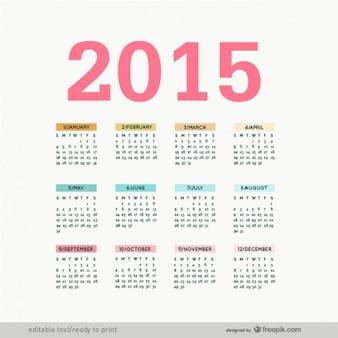 Vectoriel éditable 2015 calendrier