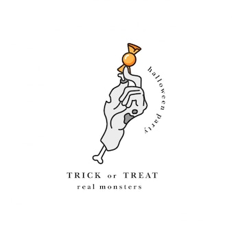 Vectorielle de main de zombie coupé tenant les bonbons. typographie de fête holloween heureux. tromper ou traiter la citation.