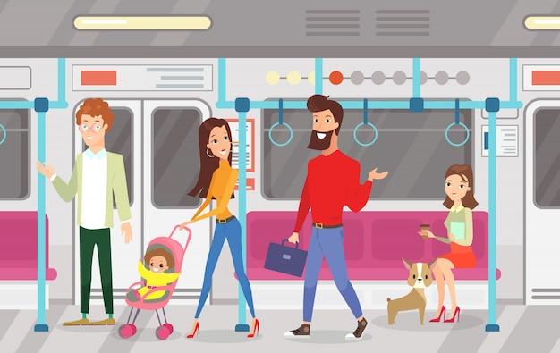 Vectorielle de personnes dans le métro métro. intérieur du métro avec des navetteurs, des femmes assises et parlantes, une femme debout et un homme avec un enfant dans un style plat de dessin animé.