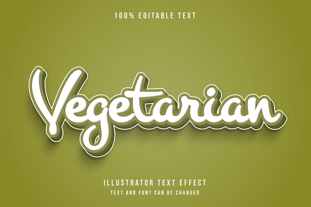 Végétarien, style comique de dégradé vert effet texte modifiable 3d