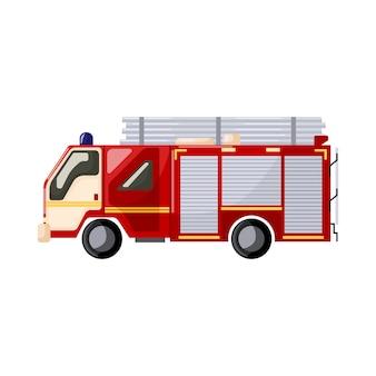 Véhicule anti-incendie isolé sur fond blanc. transport de moteur de sauvetage par camion de pompiers