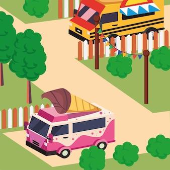 Véhicule de camion de nourriture isométrique de crème glacée
