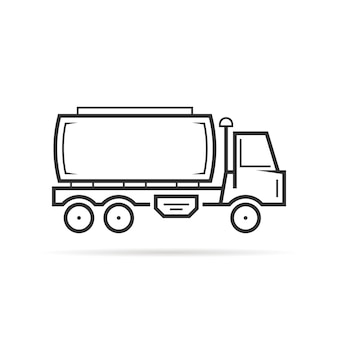 Le véhicule-citerne à ligne mince doit. concept de van, production, pétrolier, magasin, extraction, wagon, expédition, automobile. plat, contour, style, tendance, noir, logo, conception, vecteur, illustration, blanc, fond