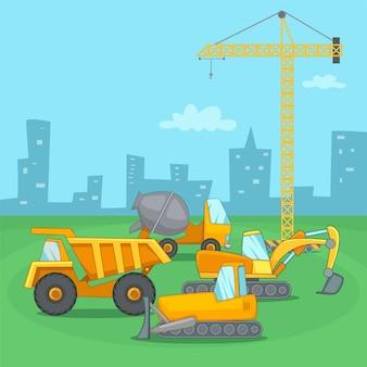 Véhicule concept de processus de construction, style cartoon