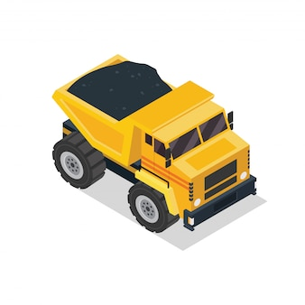 Véhicule de construction de camion à benne basculante isométrique